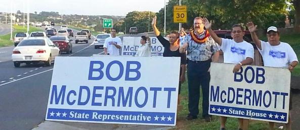 Bob, his wife Utu and supporters in Ewa